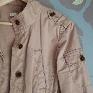 Loft cotton khaki utility cargo jacket